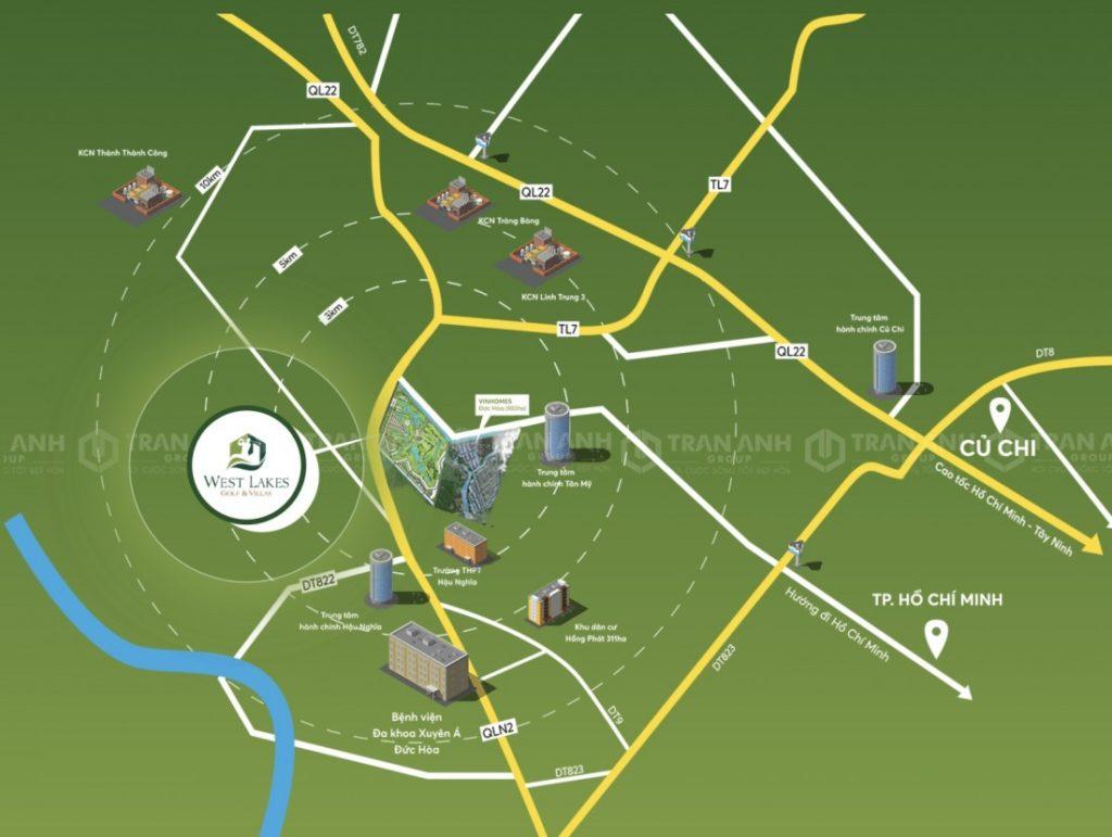 Vị trí chiến lược của khu đô thị sân golf West Lakes Golf & Villas